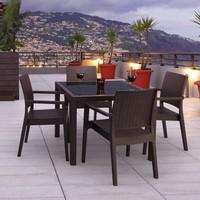 Siesta Rattan Baliza Kare Masa Takımı - Beyaz - Balkon Bahçe Mobilyası