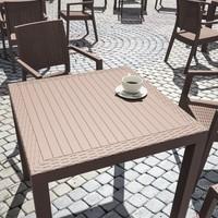 Siesta Contract Orbiza Kare Masa Takımı - Kahve - Balkon Bahçe Mobilyası