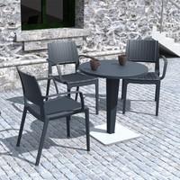 Siesta Rattan Capriva Yuvarlak Masa Takımı - Koyu Gri - Balkon Bahçe Mobilyası