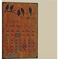 Angels İn Town Kuş Desenli Metal Pano Takvim (Kahverengi) - 28X35 Cm