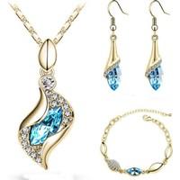 Modakedi Altın Dore Mavi Lale Figürlü Kristal Bayan Takı Seti