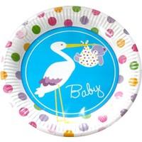 Kikajoy Baby Shower Leylek Mavi Karton Tabak