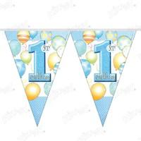 Kikajoy Balonlar 1 Yaş Mavi Üçgen Flama