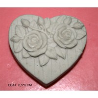 Pasta Mağaza İkili Kalp Gül Silikon,Mum,Kokulu Taş Kalıbı