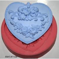 Pasta Mağaza Kalp İçinde Güller Silikon,Mum,Kokulu Taş Kalıbı