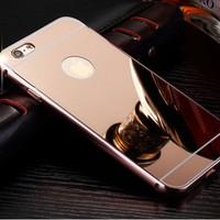 Gpack Apple iPhone 7 Kılıf Aynalı Metal Bumper
