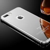 Gpack Apple iPhone 7 Plus Kılıf Aynalı Metal Bumper + Cam
