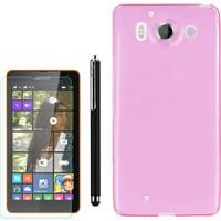 Gpack Microsoft Lumia 950 Kılıf 02Mm İnce Silikon +Kalem+ Cam