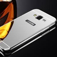Gpack Samsung Galaxy Win Kılıf Aynalı Metal Bumper + Kırılmaz Cam