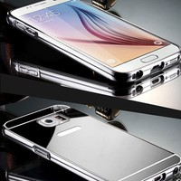 Gpack Samsung Galaxy S6 Edge Plus Kılıf Aynalı Metal Bumper