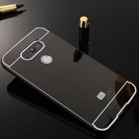 Gpack Lg G5 Kılıf Aynalı Metal Bumper + Cam