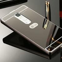 Gpack Lg K10 Kılıf Aynalı Metal Bumper + Kırılmaz Cam