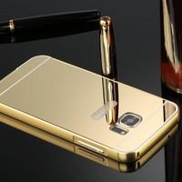 Gpack Samsung Galaxy C5 Kılıf Aynalı Metal Bumper
