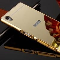 Gpack Sony Xperia Z5 Kılıf Aynalı Metal Bumper + Cam