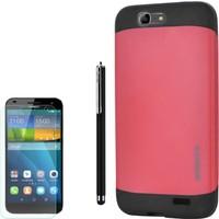 Gpack Huawei Ascend G7 Kılıf Slim Case Armor +Kalem+ Kırılmaz Cam