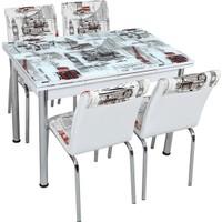 Osmanlı Mobilya Osmanlı Mutfak Masa Takımı Dünya Desen Masa + 4 Sandalye