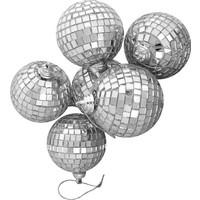 Pandoli Gümüş Renk Aynalı Disko Topu 6 Adet 4 Cm