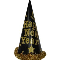 Pandoli Happy New Year Siyah Sarı Kukuleta Şapka