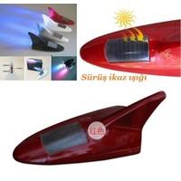 Tvet Anten Süs Balık Kırmızı 8 Led İkaz Işıklı Güneş Enerjili