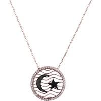 Sanroza Gümüş Takı Ay Yıldız Gümüş Kolye