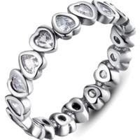 Sanroza Bijuteri Takı Kalp Zirkon Taşlı Gümüş Yüzük 17