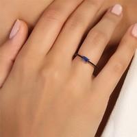 Sanroza Gümüş Takı Zirkon Mavi Taşlı Gümüş Yüzük 18