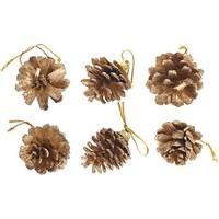 Pandoli Yılbaşı Çam Ağacı Kozalağı Süs Altın Renk 6 Adet