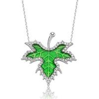 Nereze Yeşil Çınar Yaprağı Kolye Gümüş Kolye