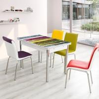 Evinizin Mobilyası Açılır Cam Mutfak Masası Masa Sandalye Renkli Ahşap Desenli(4 Sandalyeli)