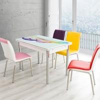 Evinizin Mobilyası Açılır Cam Mutfak Masası Masa Sandalye Şal Desenli(4 Sandalyeli)