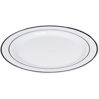 Kikajoy Porselen Görünümlü Gümüş Kenarlı Plastik Tabak 26cm - 6 adet