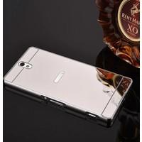 Gpack Sony Xperia C5 Ultra Kılıf Aynalı Metal Bumper + Kırılmaz Cam