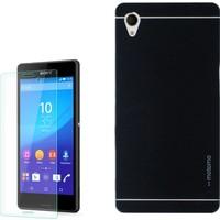 Gpack Sony Xperia M4 Aqua Kılıf Sert Arka Kapak Motomo + Cam