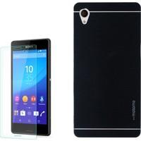 Gpack Sony Xperia Z1 Kılıf Sert Arka Kapak Motomo + Kırılmaz Cam