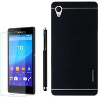 Gpack Sony Xperia Z1 Kılıf Sert Arka Kapak Motomo +Kalem + Kırılmaz Cam