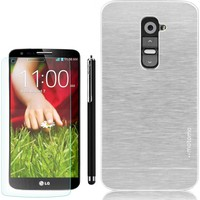 Gpack LG G2 Kılıf Sert Arka Kapak Motomo +Kalem+ Kırılmaz Cam