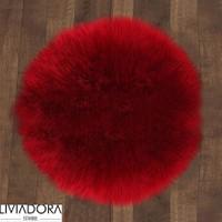 Kırmızı Yuvarlak Post Halı -145x145 cm