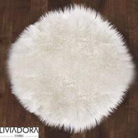 Beyaz Yuvarlak Post Halı -145x145 cm