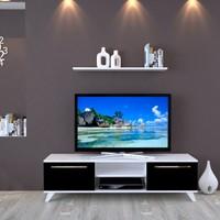 Eyibil Mobilya Aleyna 160 cm Gövde Beyaz Kapak Parlak Siyah Tv Ünitesi Duvar Raflı