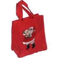 Noel Baba Desenli Kırmızı Yılbaşı Çantası