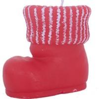 Beyaz Çizgili Kırmızı Çizme Dekoratif Mum 10 cm