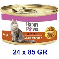 Happy Paws Lamb İn Gravy Kuzu Etli Ve Soslu Yetişkin Kedi Konservesi 80 Gr (24 Adet)