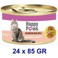 Happy Paws Salmon İn Gravy Somon Balıklı Ve Soslu Yetişkin Kedi Konservesi 80 Gr(24 Adet)