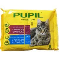 Pupil Pouch Kedi Konservesi 4'lü Paket 4X100 Gr ( 2Xbiftek Ve Ciğer - 2Xalabalık Ve Somon )
