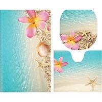 Melay Kumsal Pembe Çiçekli Banyo Paspas Üçlü Set