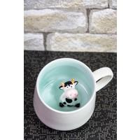 Mukko Home Porselen Sürpriz İnek Kupa / Bardak 9 Cm