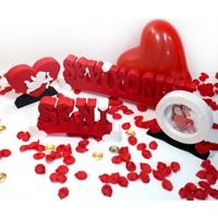 Harfdekor Seni Seviyorum Özel Tasarım Kırmızı Kaplamalı + Gül Yaprağı + Mum + Balon + Çerçeve + Kalp