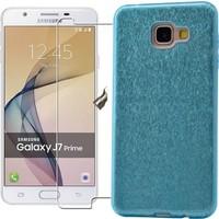 KılıfShop Samsung Galaxy J7 Prime Simli Silikon Kılıf + Ekran Koruyucu