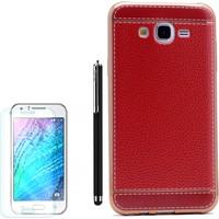 Gpack Samsung Galaxy On7 Kılıf Deri Görünüm Lazer Silikon Kapak +Kalem +Kırılmaz Cam