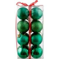 KullanAtMarket Yeşil Yılbaşı Ağaç Süs Seti 16'Lı 6 Cm